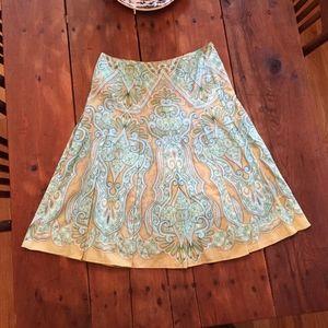 Talbots Box Paisley Pleated Skirt